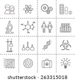 set of science icons. outlines.    Shutterstock . vector #263315018