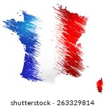 scribble stylized map of france.... | Shutterstock . vector #263329814