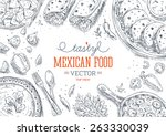 mexican food frame. linear... | Shutterstock .eps vector #263330039