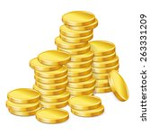 Stacks Of Gold Coins On White...