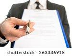 businessman or salesman handing ... | Shutterstock . vector #263336918