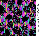 seamless neon tropical design... | Shutterstock . vector #263343194