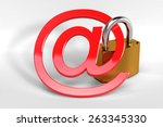 red at sign secured by a strong ... | Shutterstock . vector #263345330