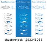 sushi salmon meat cuts diagram... | Shutterstock .eps vector #263348036