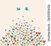 silhouettes of flying birds ... | Shutterstock .eps vector #263350436
