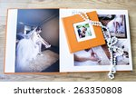 wedding photo book spread and... | Shutterstock . vector #263350808