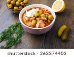 russian soup soljanka on a... | Shutterstock . vector #263374403