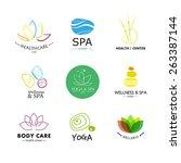 set of vector simple flat logo... | Shutterstock .eps vector #263387144