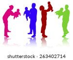 family together silhouettes | Shutterstock .eps vector #263402714