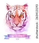 vector set of animals. tiger... | Shutterstock .eps vector #263413193