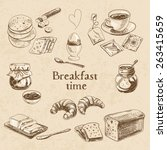 vector breakfast hand drawn set.... | Shutterstock .eps vector #263415659