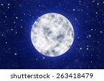 bright full moon on blue night... | Shutterstock . vector #263418479