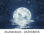 moon set over water with waves  ... | Shutterstock . vector #263418653