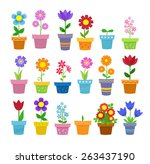 flowers in pots   clip art | Shutterstock .eps vector #263437190