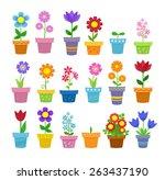 flowers in pots   clip art | Shutterstock .eps vector #263437190