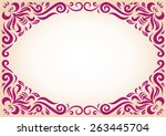 ornament frame in maroon color... | Shutterstock .eps vector #263445704