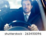 handsome man driving his car | Shutterstock . vector #263450096