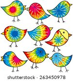 nine colorful tie dyed chicks...