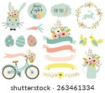 set of easter elements. vector... | Shutterstock .eps vector #263461334