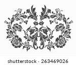 luxury flower with damask design
