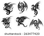 wild black dragons for tattoo... | Shutterstock .eps vector #263477420