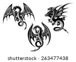 Silhouettes Of Black Dragon...
