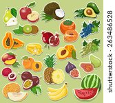 fruits collection on tags.... | Shutterstock .eps vector #263486528