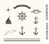 vector set of nautical elements ... | Shutterstock .eps vector #263489654