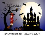 beautiful witch and castle | Shutterstock . vector #263491274