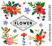 hand painted watercolor flower. ... | Shutterstock .eps vector #263501189