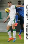 Small photo of BUDAPEST, HUNGARY - MARCH 22, 2015: Air battle between Daniel Bode of Ferencvaros (l) and Thiam Khaly Iyane of MTK during Ferencvaros vs. MTK OTP Bank League football match in Groupama Arena.