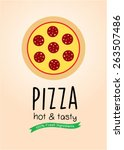 hot and tasty pizza wallpaper | Shutterstock .eps vector #263507486