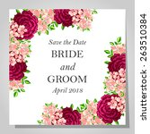 wedding invitation cards with... | Shutterstock .eps vector #263510384