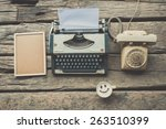 typewriter coffee and notebook... | Shutterstock . vector #263510399