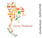 map thailand. thai symbols in... | Shutterstock .eps vector #263514740