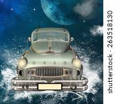 car with water splash and waves ... | Shutterstock . vector #263518130