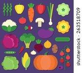 vegetable icon set | Shutterstock .eps vector #263518709