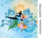 surf boarder with flowers on... | Shutterstock . vector #263519246