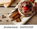 tasty tiramisu dessert in glass ... | Shutterstock . vector #263521439