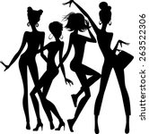 Silhouette Of Funny Girls On...