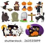 different design of halloween... | Shutterstock .eps vector #263535899