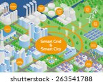 smart grid and smart city image ... | Shutterstock .eps vector #263541788