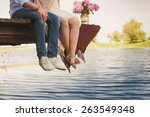 fashionable cool couple  legs ... | Shutterstock . vector #263549348