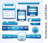 web elements set  vector blue...