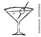 martini drink doodle   Shutterstock .eps vector #263556863