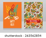 happy holi festival cards ... | Shutterstock .eps vector #263562854