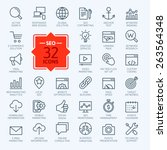 Thin lines web icons set - Search Engine Optimization  | Shutterstock vector #263564348