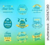 easter labels and badges on... | Shutterstock .eps vector #263567180