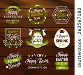 easter labels and badges on... | Shutterstock .eps vector #263567183