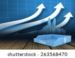blue inbox against arrows and...   Shutterstock . vector #263568470